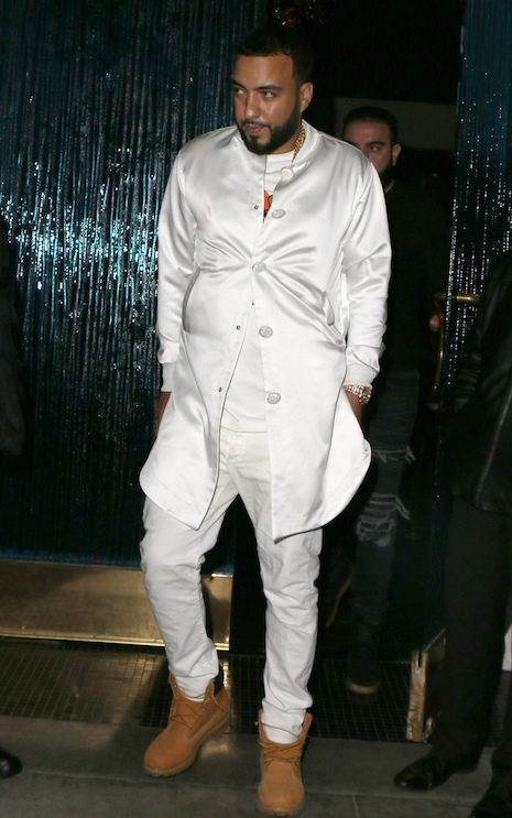 """f339b1d1526 File this under """"awkward fashion moments for rappers."""" French Montana  walked out of Mastro restaurant the other night in this odd fitting all  white outfit."""