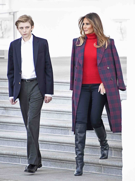 """We don't get to see Barron Trump very often but it looks like he's grown  about six inches in the past year! His mother Melania Trump is around 5'10""""  and his ..."""