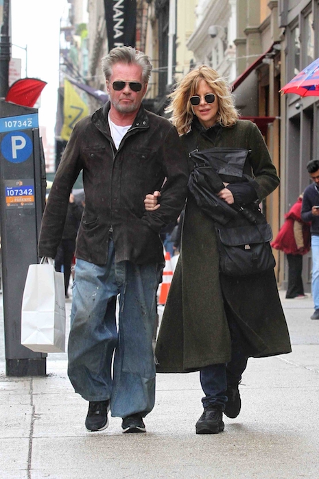 John Mellencamp, 66, and Meg Ryan, 56, braved a few sprinkles of rain as  they strolled arm in arm in Soho today. After a number of bust-ups through  the ...