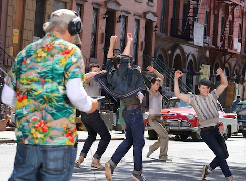 4b61a5531adc32 That's Steven Spielberg in the Hawaiian shirt directing dancers in his new  version of West Side Story- about which we have mixed feelings.