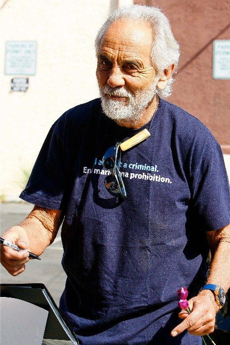 Tommy Chong seen smiling and arriving at the dance studio on Thursday.