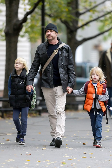 Liev Schreiber taking the kids to school.