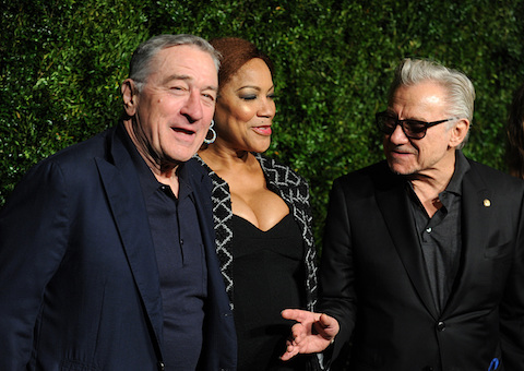 Robert De Niro, Grace Hightower and Harvey Keitel attend the 11th Annual Chanel Tribeca Film Festival Artists Dinner at Balthazar restaurant in NYC