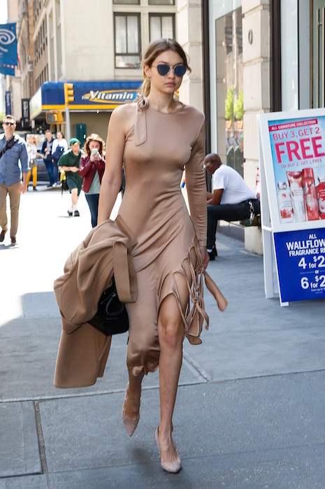 Gigi Hadid wows in nude colors