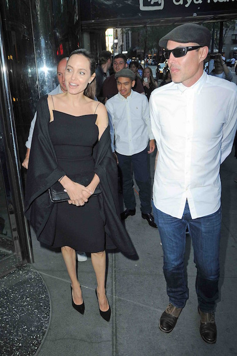 Angelina Jolie arrives at Wollensky's Grill with her brother James and son Maddox