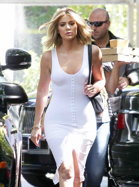 Khloe Kardashian works her Perfect Curves in White Jersey Dress